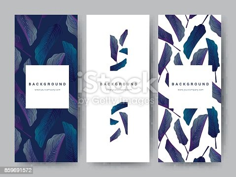 istock Branding Packageing leaf nature background, logo banner voucher, spring summer tropical, vector illustration 859691572