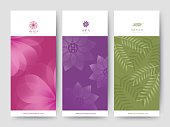 Branding Packaging Flower nature background, emblem banner voucher, spring summer tropical, vector illustration