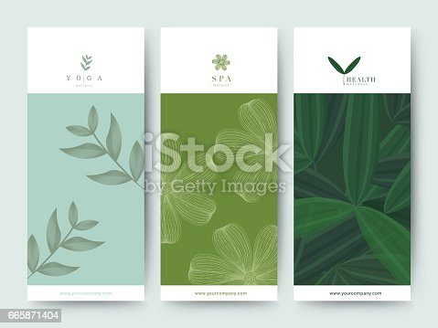 istock Branding Packaging Flower nature background, logo banner voucher, spring summer tropical, vector illustration 665871404