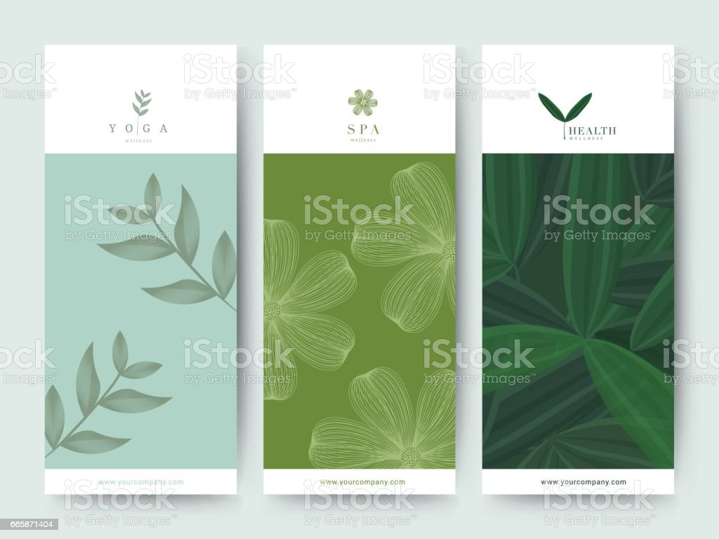 Branding Packaging Flower nature background, logo banner voucher, spring summer tropical, vector illustration - illustrazione arte vettoriale