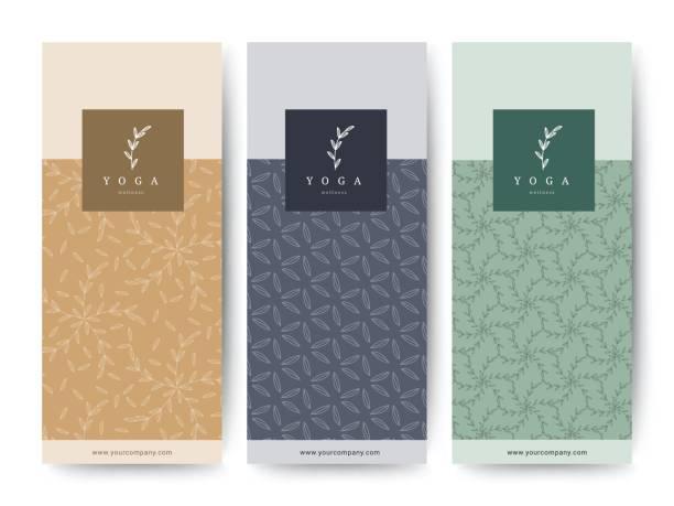 Branding-Verpackung Blume Natur Hintergrund, Logo Banner Gutschein, Frühjahr Sommer tropisch, Vektor-illustration – Vektorgrafik