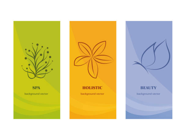 illustrations, cliparts, dessins animés et icônes de marquage à chaud packaging - spa - beauty - holistique - fleur de pentecôte et papillon sur fond orange ang violet vert - médecine alternative