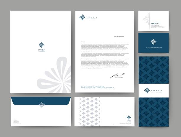 014-0120 Branding Branding identity template corporate company design, Set for business hotel, resort, spa, luxury premium logo, Blue Navy Color, vector illustration business cards and stationery stock illustrations