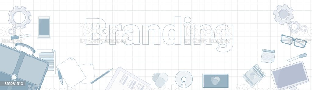 Branding Word With Office Stuff Icons On Squared Background Creation