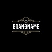 Luxury Emblem calligraphic elegant ornament lines. Sign for cafe, shop, store, restaurant, boutique, hotel, heraldic, fashion. Vector illustration.
