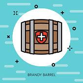 Brandy Barrel Thin Line Switzerland Icon