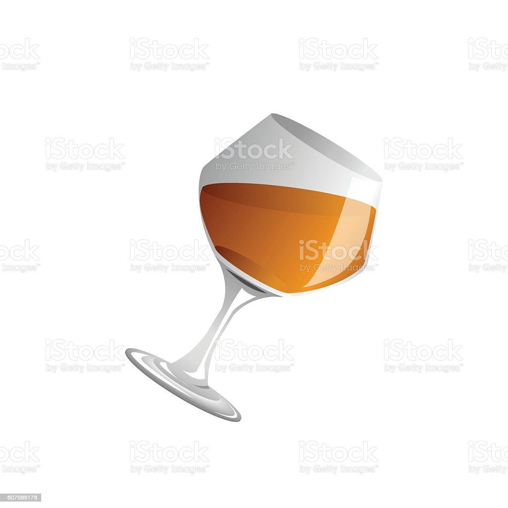 brandy glass and brandy, Vector vector art illustration