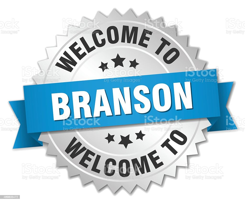 Branson 3d silver badge with blue ribbon vector art illustration