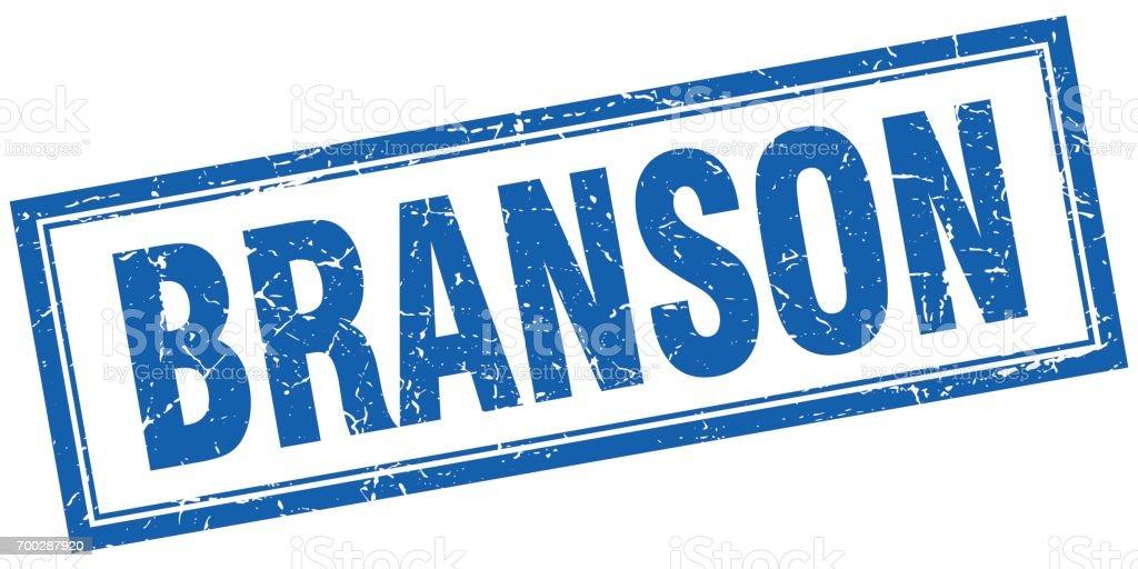 Branson blue square grunge stamp on white vector art illustration
