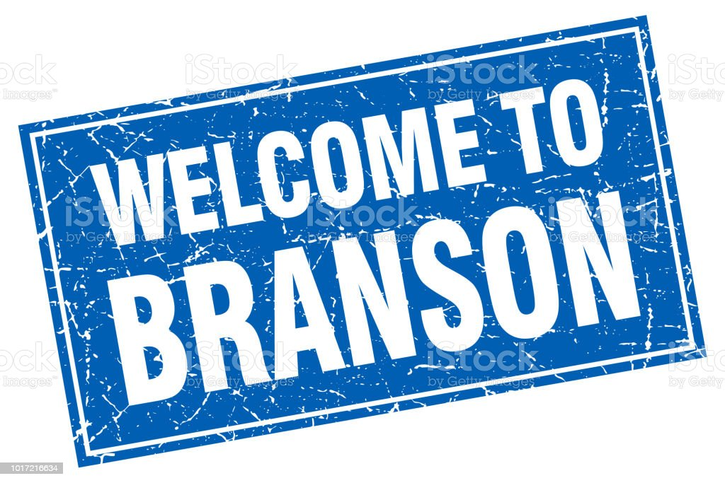 Branson blue square grunge welcome to stamp vector art illustration