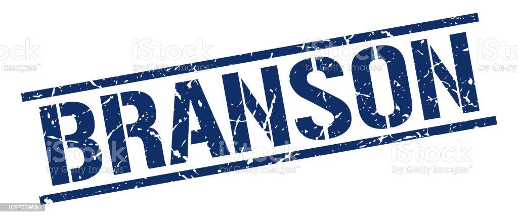 Branson blue square stamp vector art illustration