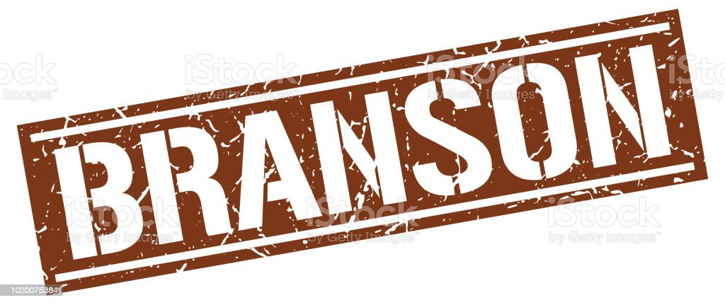 Branson brown square stamp vector art illustration