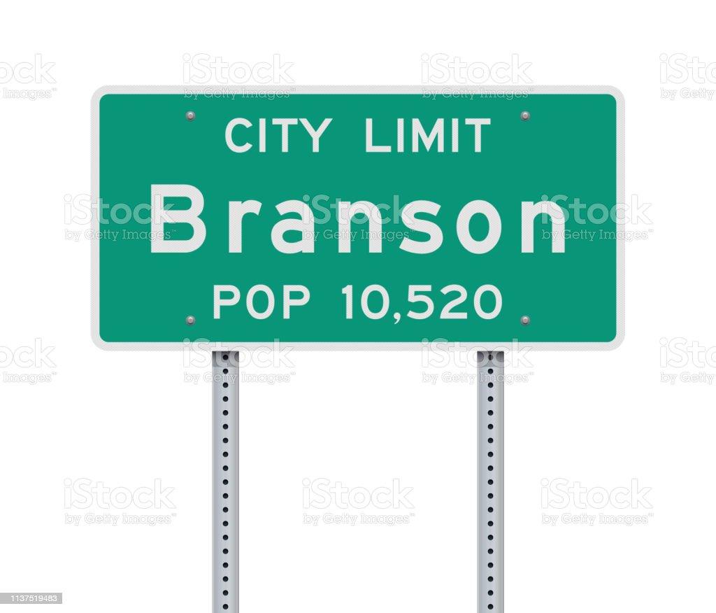 Branson City Limit road sign vector art illustration