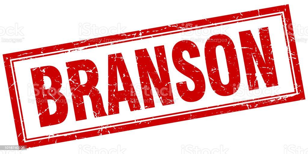 Branson red square grunge stamp on white vector art illustration