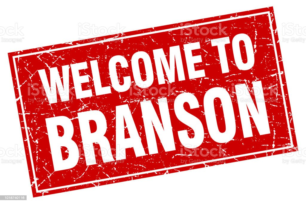Branson red square grunge welcome to stamp vector art illustration