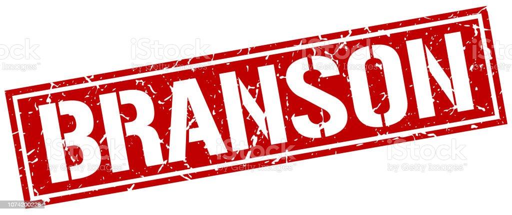 Branson red square stamp vector art illustration