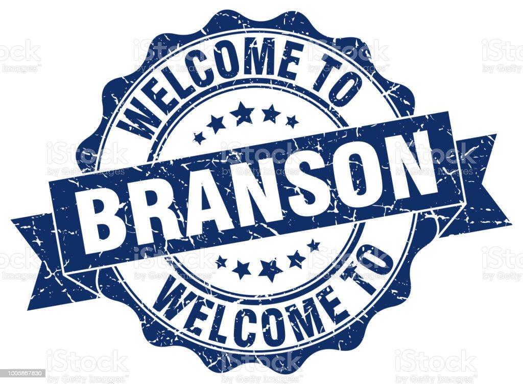 Branson round ribbon seal vector art illustration