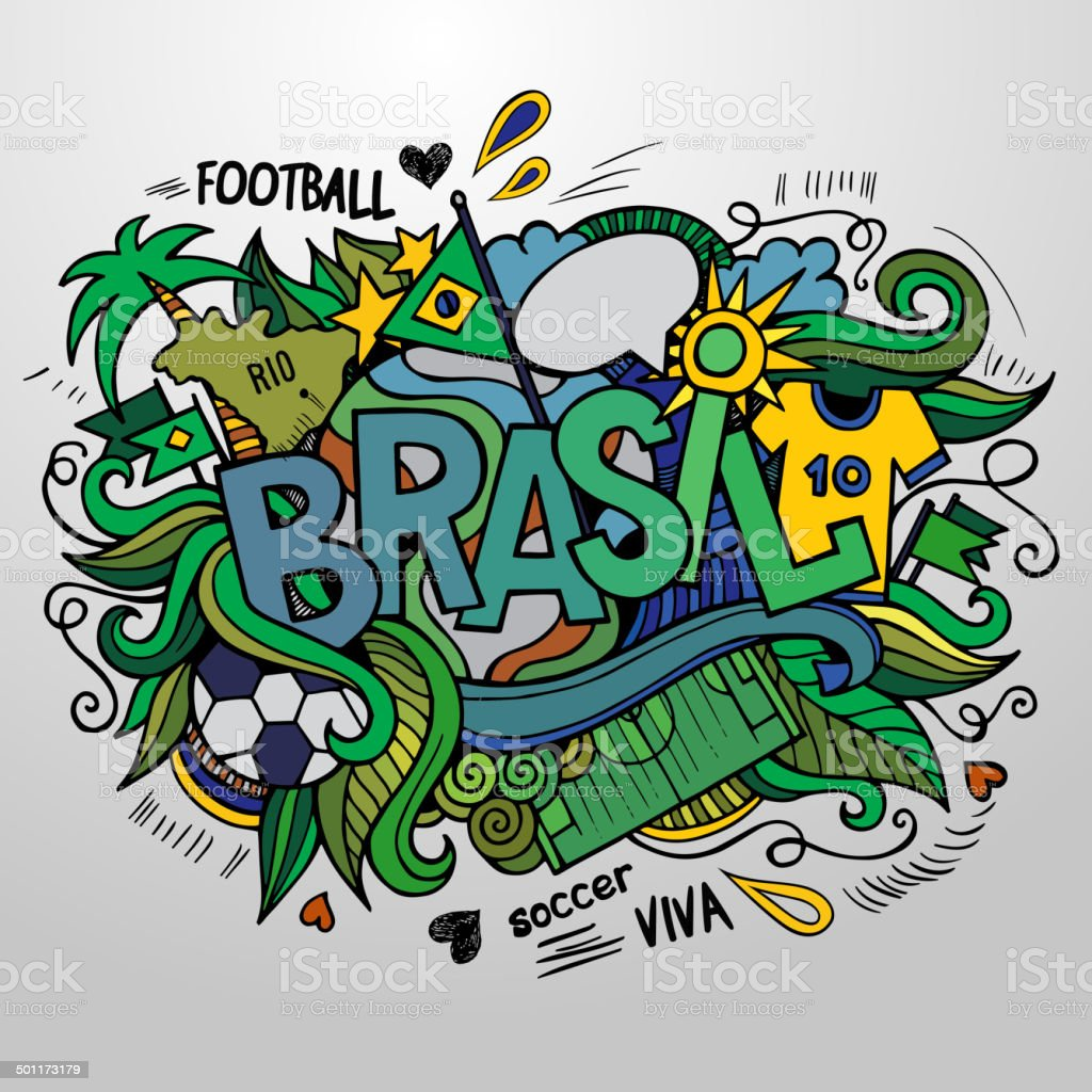 Brasil hand lettering vector art illustration