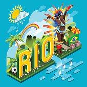 Brasil Rio Summer Infographic Isometric Soccer Field Landmarks Carnival Brazil