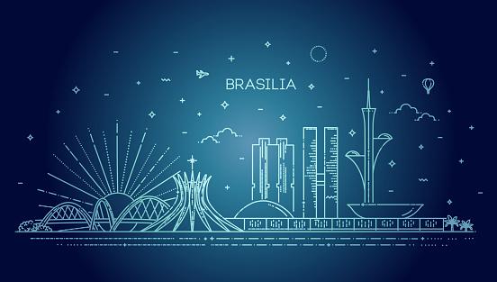 Brasilia architecture vector line skyline