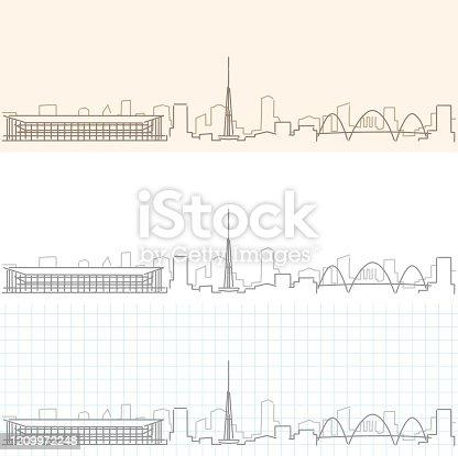 Brasilia Hand Drawn Profile Skyline