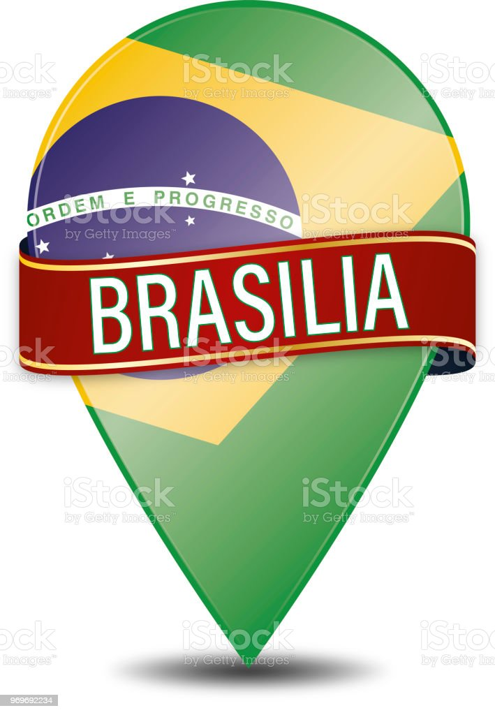 brasilia web navigatiion pin on white background vector art illustration