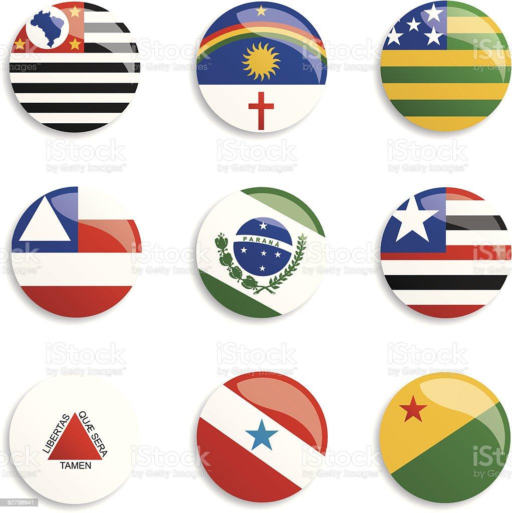 Brasils Flags botões - ilustração de arte em vetor