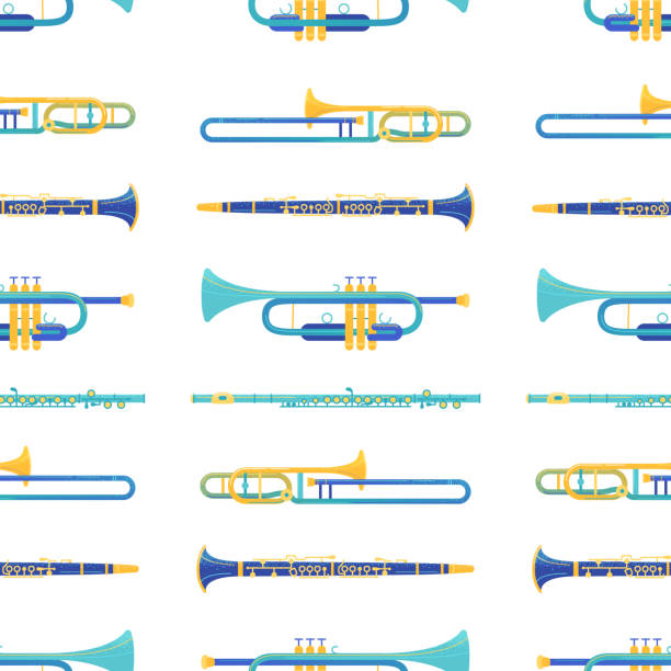 Brass and windwood instruments vector seamless pattern vector art illustration