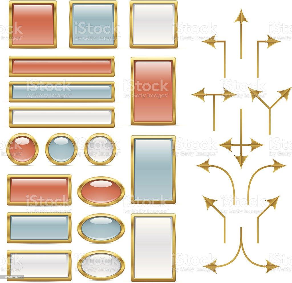 Brass Flow Chart Elements vector art illustration