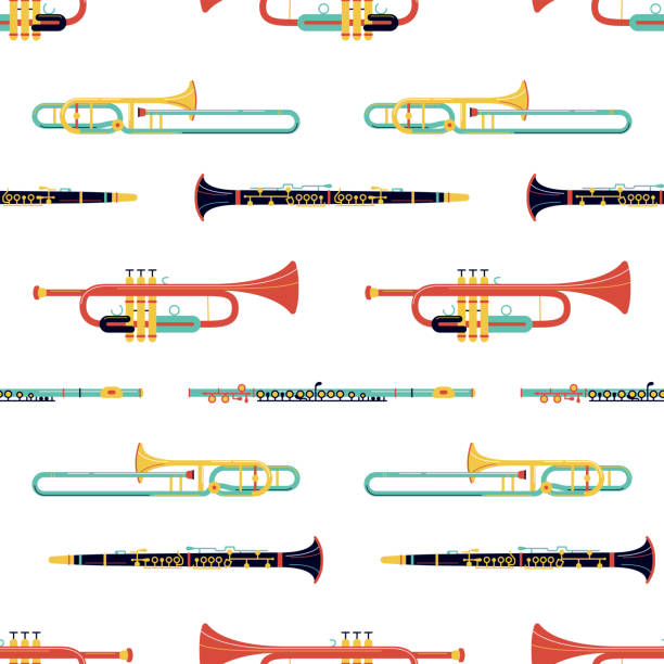 bildbanksillustrationer, clip art samt tecknat material och ikoner med mässing instrument platt vektor sömlösa mönster - flöjt