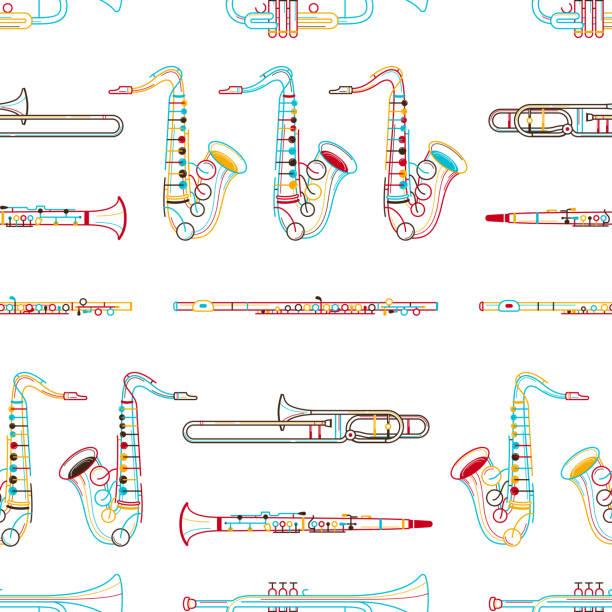 brass instruments hand drawn outline seamless pattern - klarnet stock illustrations