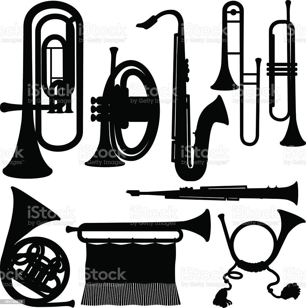 Brass instruments vector art illustration