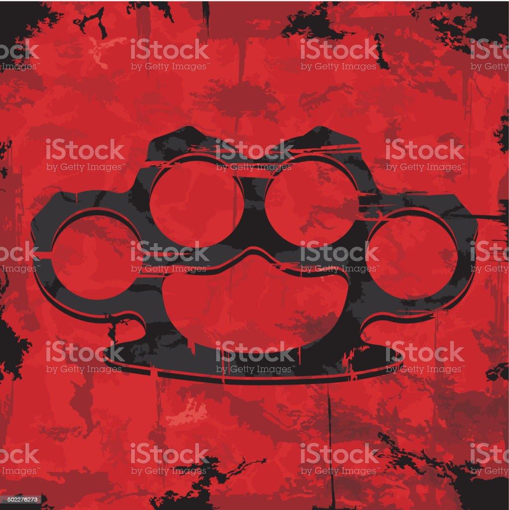 Brass knuckles design. Apparel print. vector art illustration