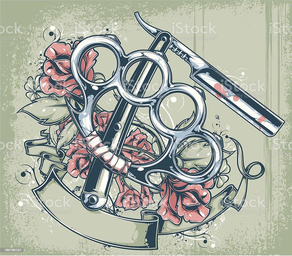 brass knuckles & straight razor vector art illustration