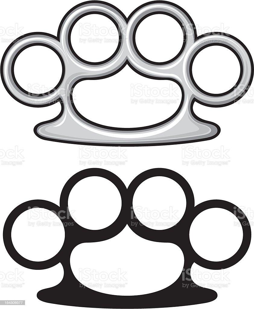Brass knuckles vector art illustration