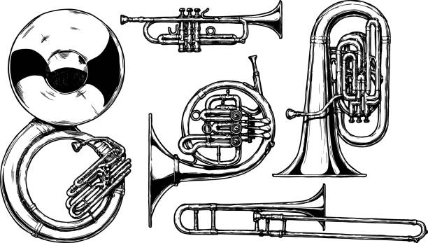 stockillustraties, clipart, cartoons en iconen met messing muziekinstrument - blaasinstrument