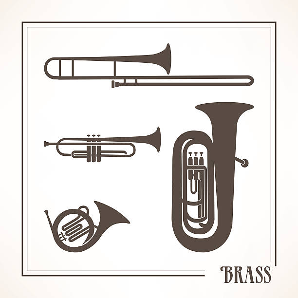 stockillustraties, clipart, cartoons en iconen met brass musical instruments - blaasinstrument