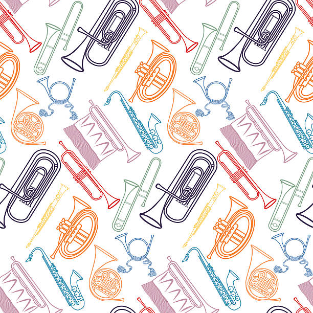 stockillustraties, clipart, cartoons en iconen met brass pattern - blaasinstrument