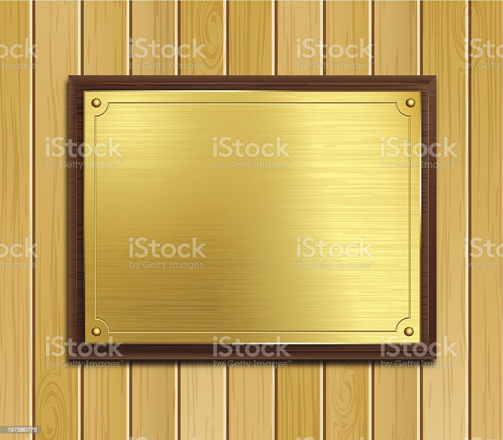 Brass Plaque On Wood Panel Background vector art illustration