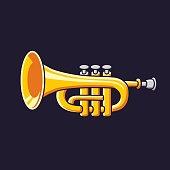 Brass trumpet on dark background vector icon.