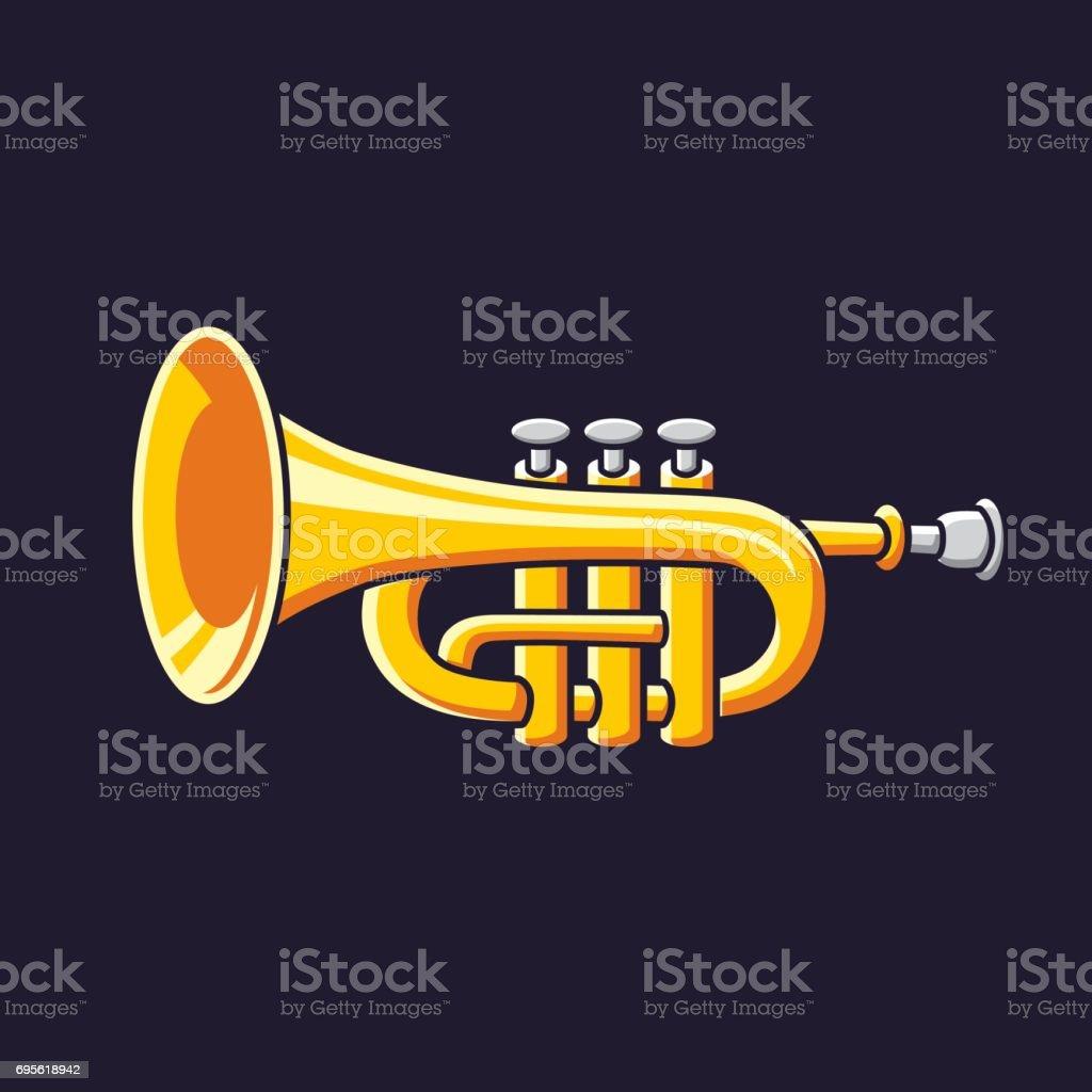 Brass trumpet vector icon. vector art illustration