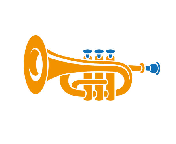 messing trompete - fanfare stock-grafiken, -clipart, -cartoons und -symbole