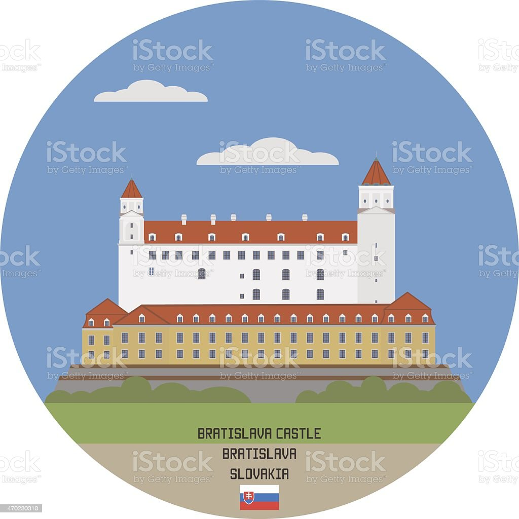 Bratislava Castle, Slovakia vector art illustration