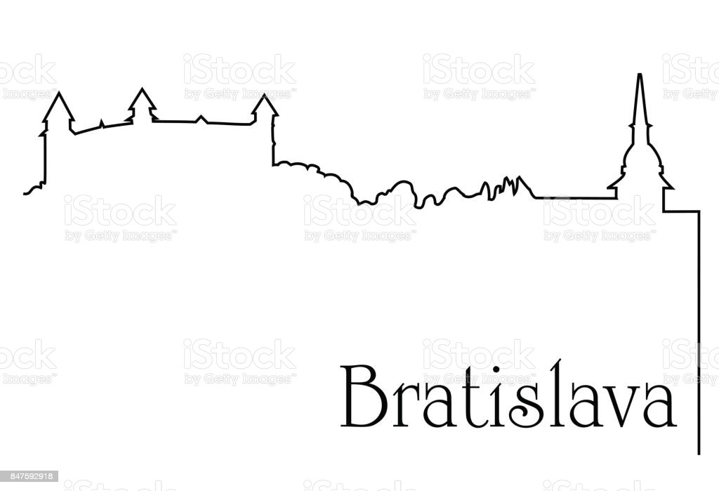 Bratislava city one line drawing vector art illustration