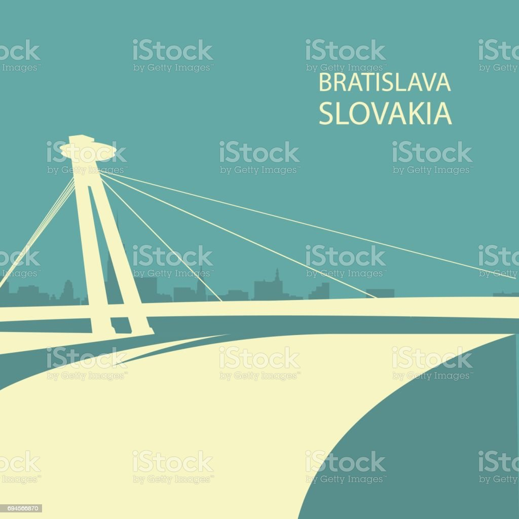 Bratislava cityscape with UFO bridge silhouette, Slovakia vector art illustration