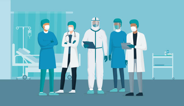 Brave doctors and nurses fighting coronavirus in the hospitals Professional doctors and nurses posing together in a hospital ward and wearing protective suits, virus outbreak emergency concept protective workwear stock illustrations