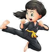 Brave girl doing karate