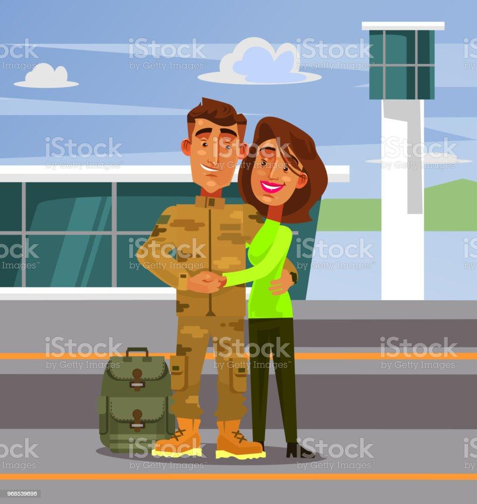 Tapfere Soldat Glücklich Lächelnde Charakter Seine Freundin Frau ...
