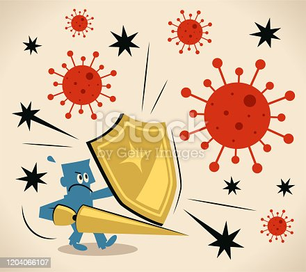 Blue Little Guy Characters Vector Art Illustration. Brave knight carrying a shield and lance against the coronavirus (bacterium, virus), immune system, antibody.