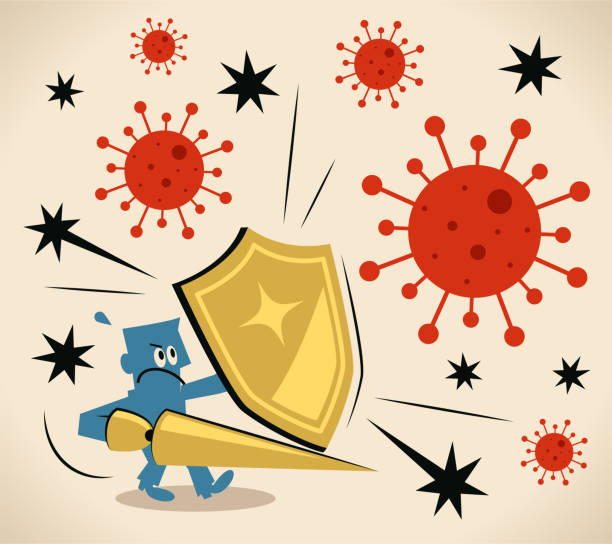 Brave knight carrying a shield and lance against the coronavirus (bacterium, virus), immune system, antibody vector art illustration